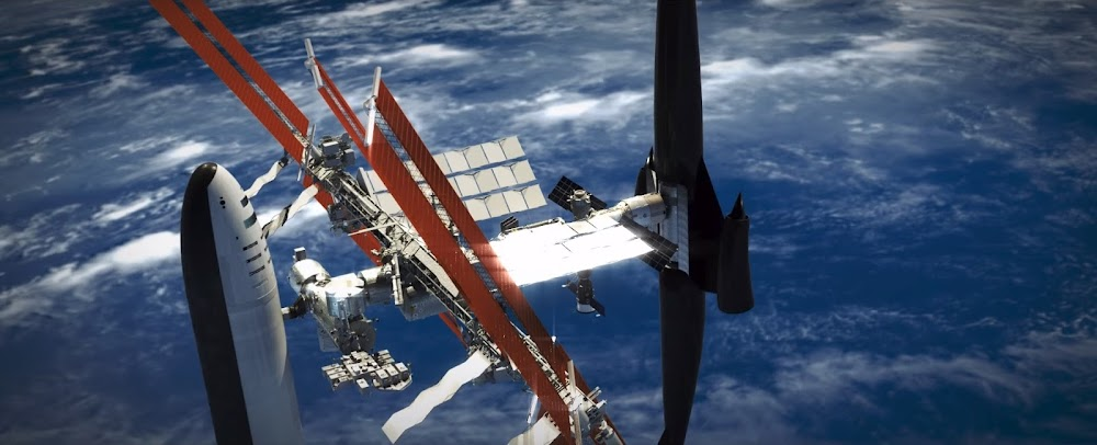 Skylon spaceplane and SpaceX BFR spaceship docked to ISS