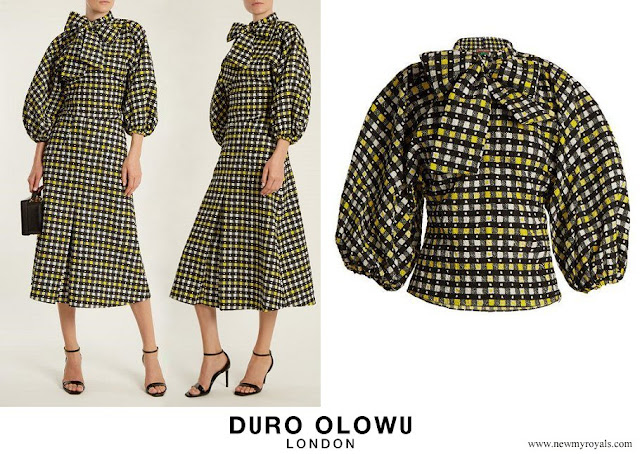 Queen Maxima wore Duro Olowu Napoli Check-print Tie-neck Blouse and Pleated A-line Skirt