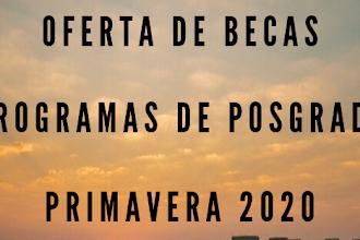 OFERTA DE BECAS  PROGRAMAS DE POSGRADO  PRIMAVERA 2020
