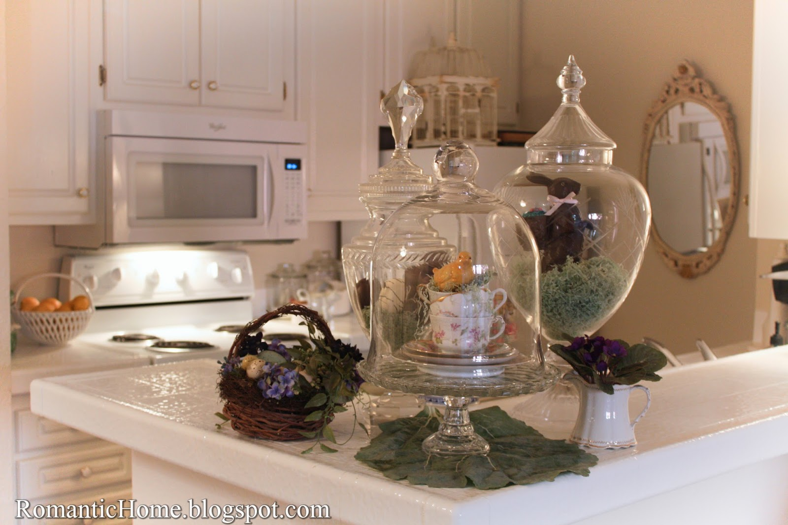 My romantic home a little kitchen easter decor show and tell friday - Designs in glasses for house decoration ...