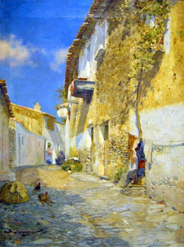Sebastía Berenguer i Truegols, Calle de Cadaqués, Pueblo de Cadaqués, Vista de Cadaqués, Barcas de Cadaqués, Cadaqués en Pintura, Painting of Cadaqués