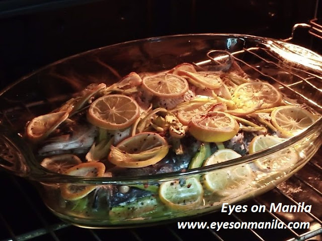 Sea Bass fish in the oven
