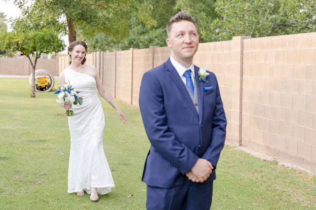 gilbert az backyard first look at a wedding in july