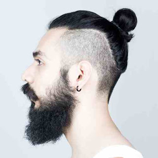 Slim Face Men Long Haircuts with Beard Style