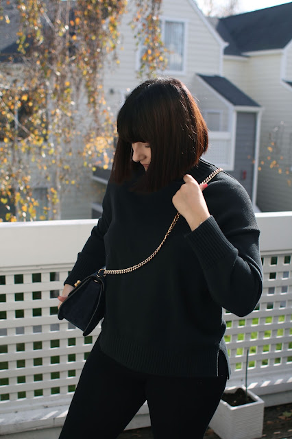 Everlane knitwear, all black, fashion, Fbloggers, OOTD, WIWT, Postpartum, New mom, casual style