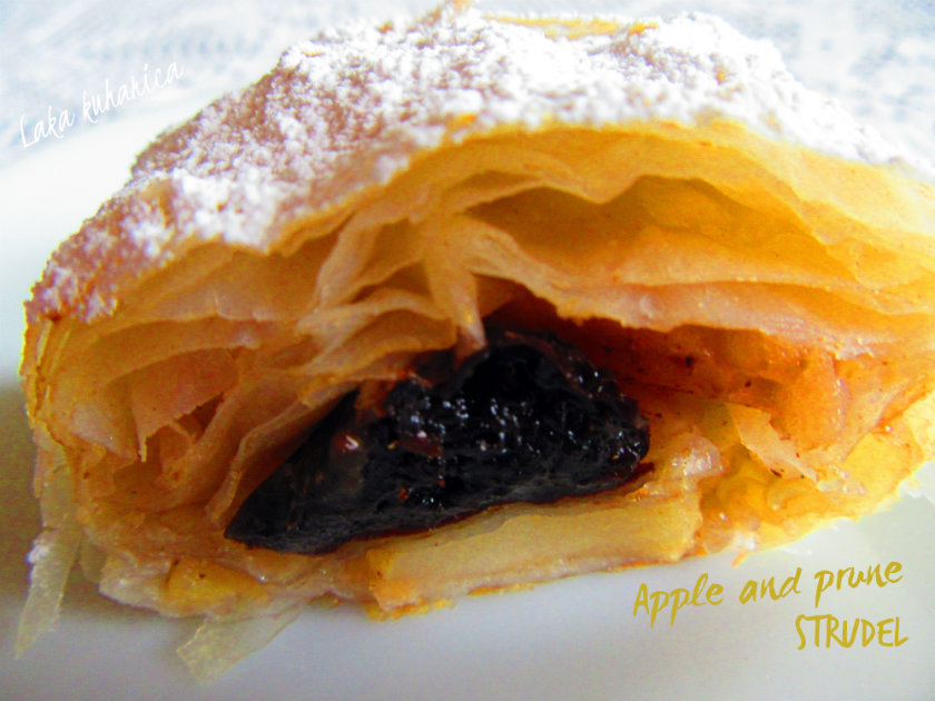 Apple and prune strudel by Laka kuharica: spiced apples and prunes are folded into layers of flaky phyllo.