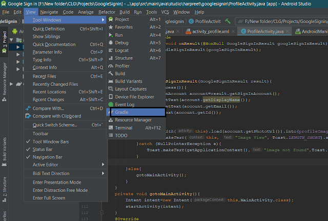 Open Gradle and Find SHA-1 Key in Android Studio