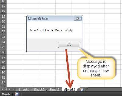 Upon creating a new excel sheet a message is displayed to the user Shout4Education
