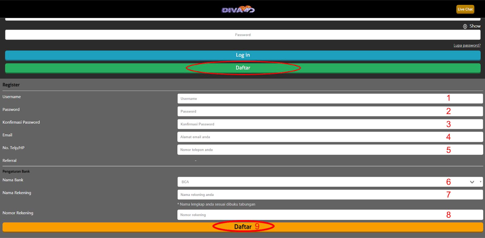 Cara Daftar DIVA4D - Togel Online | Situs Togel Online | Bandar Togel