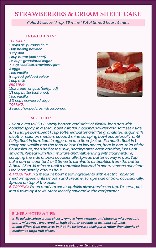 STRAWBERRIES & CREAM SHEET CAKE RECIPE