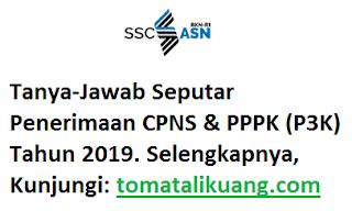 Pertanyaan Seputar Penerimaan Pendaftaran CPNS PPPK P3K Tahun 2019; tomatalikuang.com