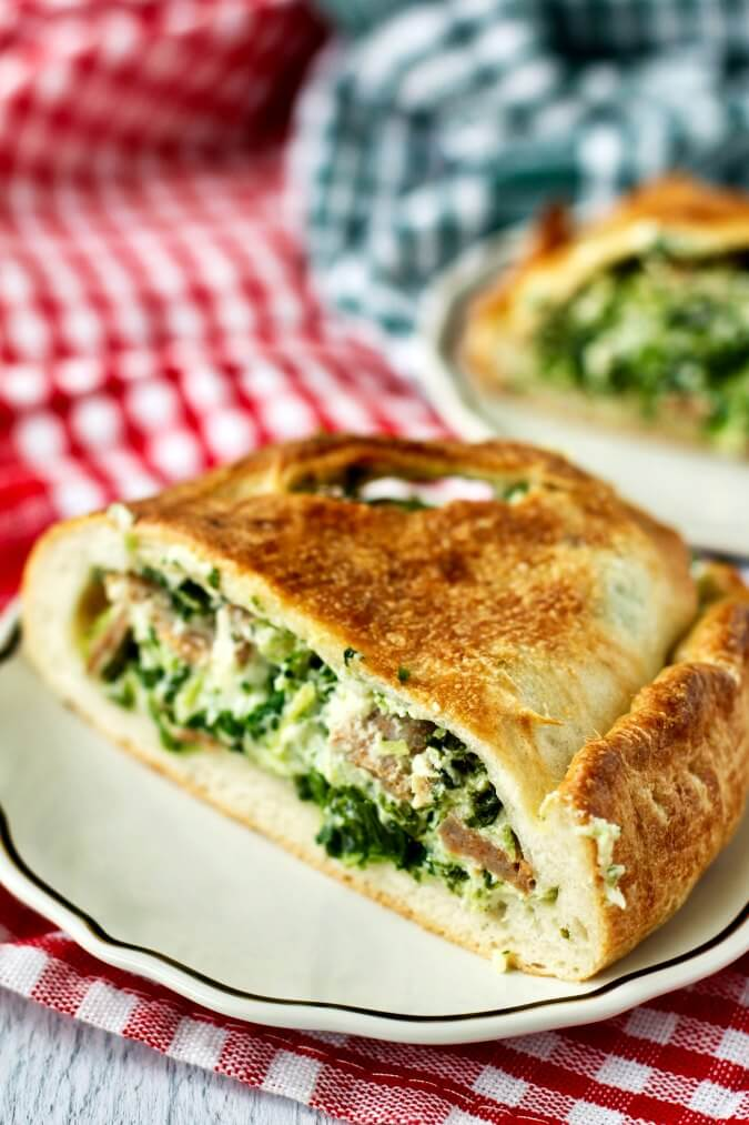 Ricotta Calzones with Spinach and Sausage sliced