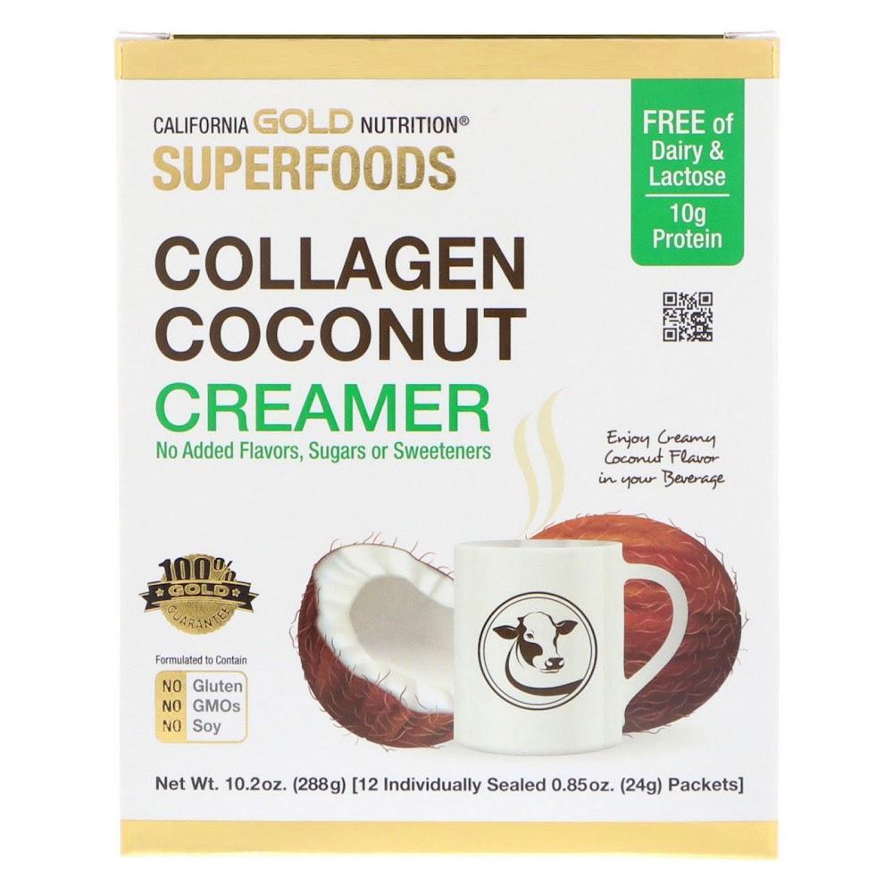 California Gold Nutrition, Superfoods, коллагеновый кокосовый крем, без подсластителей, 12 пакетиков по 0,85 унции (24 г)