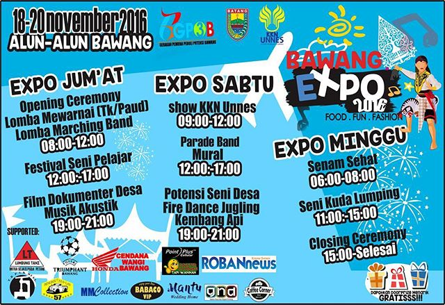 Event Batang | Jadwal Bawang Expo 2016