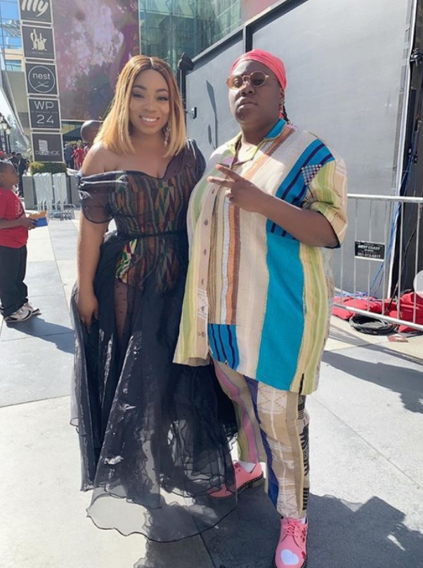 Check Out Teni's Outfit As She Poses With Ghanaian Actress, Moesha At BET Awards