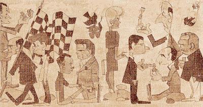 Caricaturas de los ajedrecistas participantes en el Torneo de ajedrez de Berga 1961