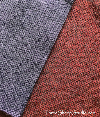 Purple and Red Textured Wool Fabric