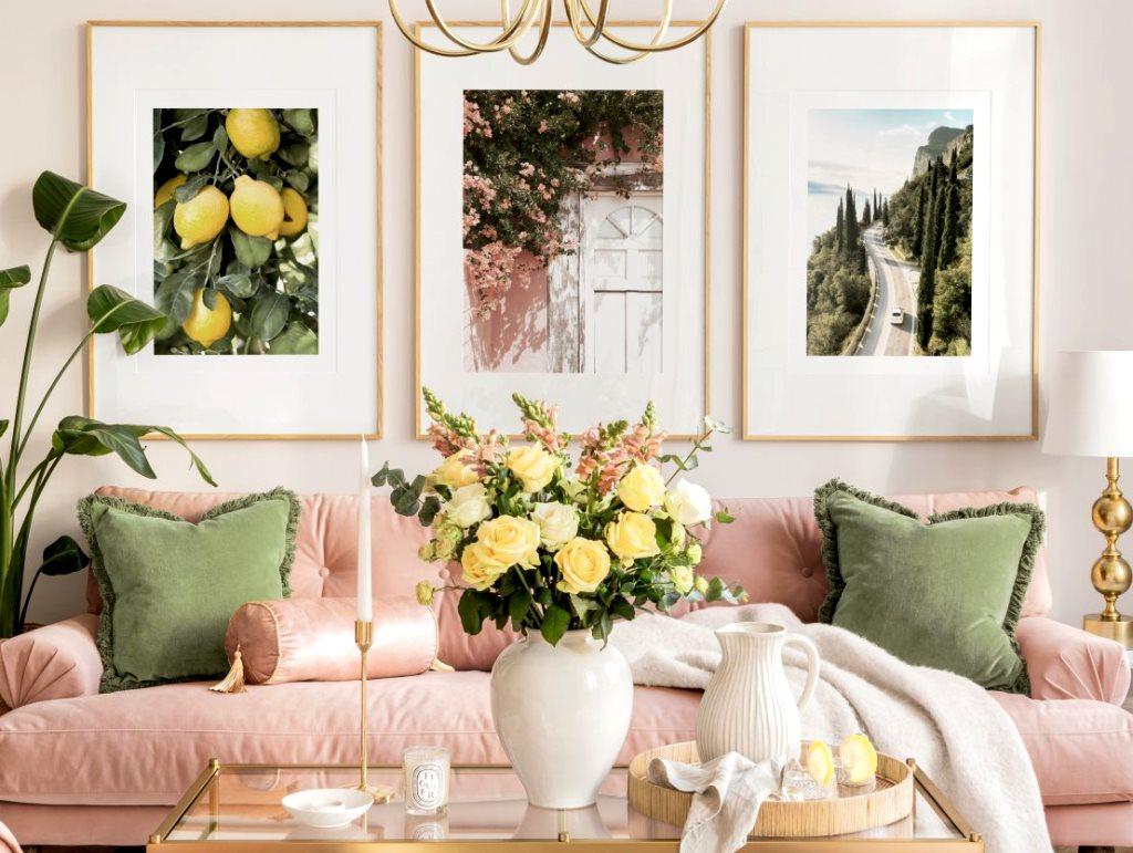 come decorare un piano di lavoro: Come Abbellire Un Soggiorno Con Stampe Moderne Poster Store Glam Style