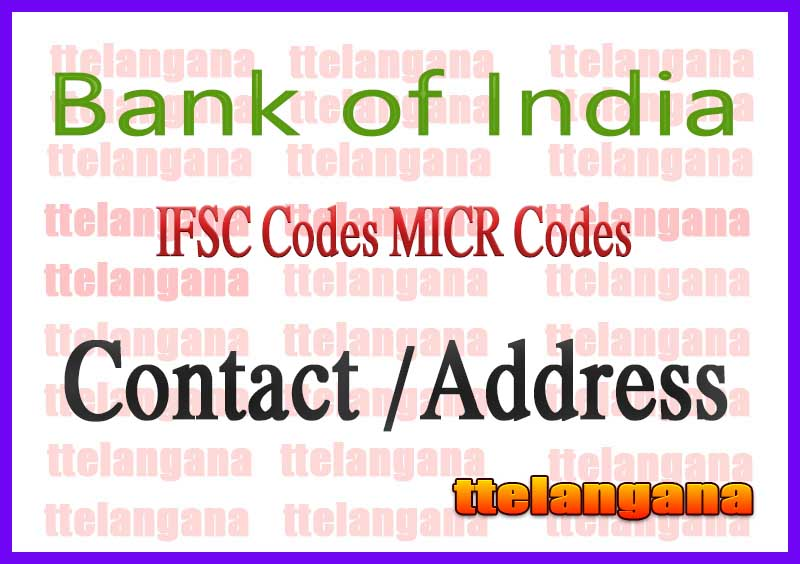 Bank of India IFSC Codes MICR Codes in Agra City