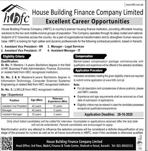 House Building Finance Company Limited HBFCL Job Advertisement in Pakistan - Apply Online - www.hbfc.com.pk 2021 - 2022