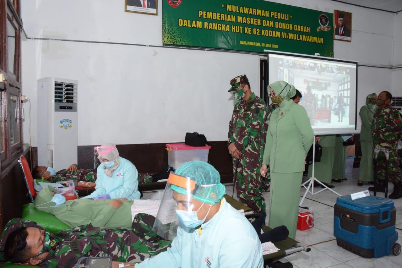 Mulawarman Peduli, Prajuri TNI Donor Darah Ditengah Pandemi Covid- 19