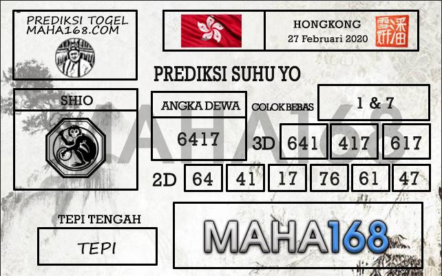 Prediksi Togel JP Hongkong 27 Februari 2020 - Prediksi Suhu Yo