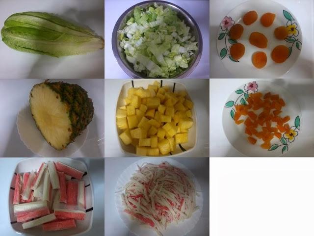 Receita de salada de kani com abacaxi