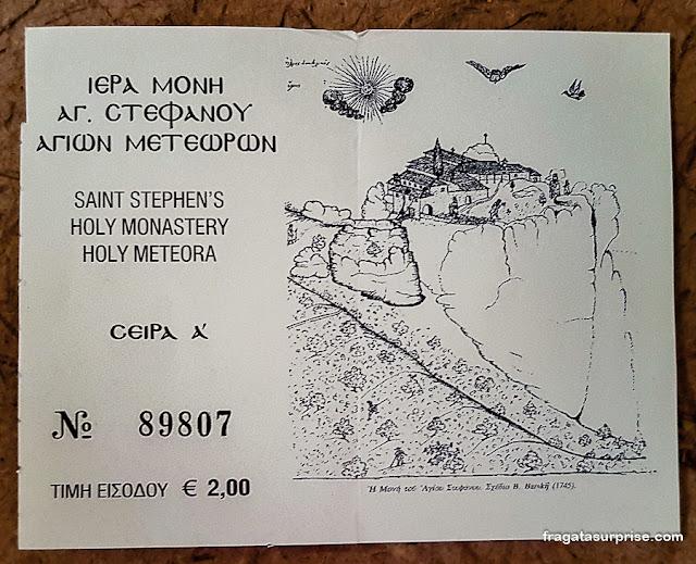 Ingresso para o Mosteiro de Santo Estevão, Meteora, Grécia
