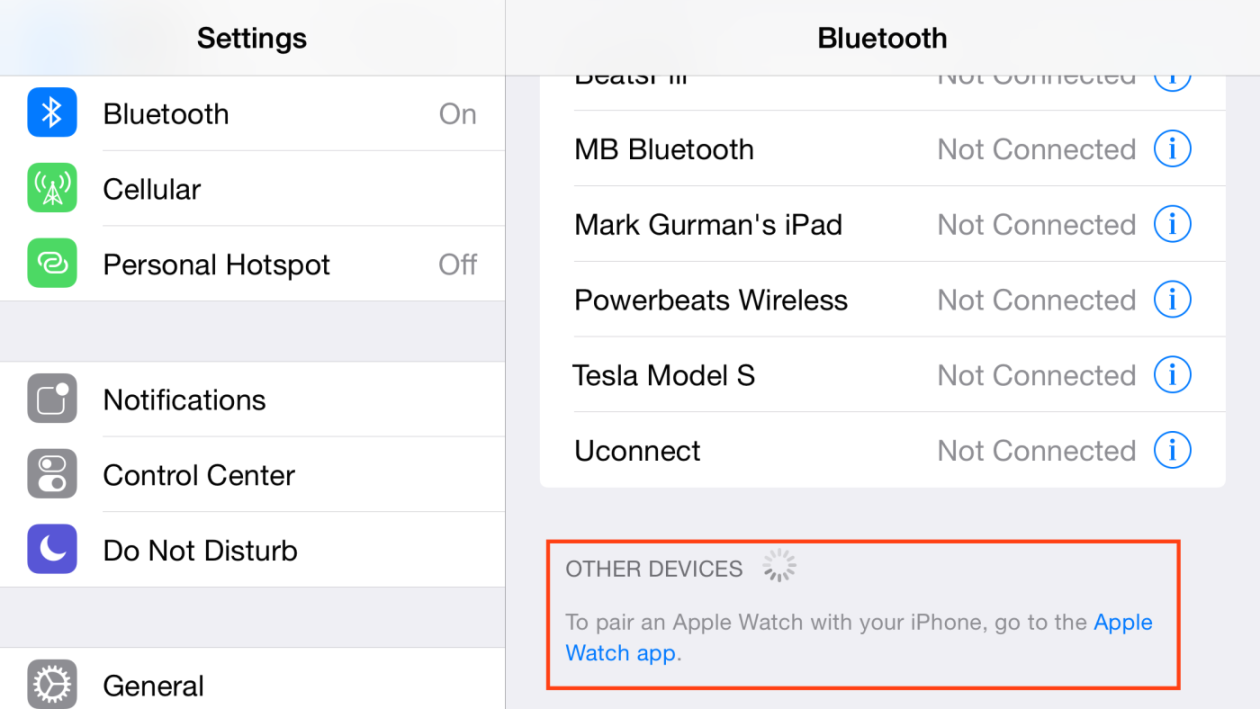 iOS 8.2 - Bluetooth com Apple Watch