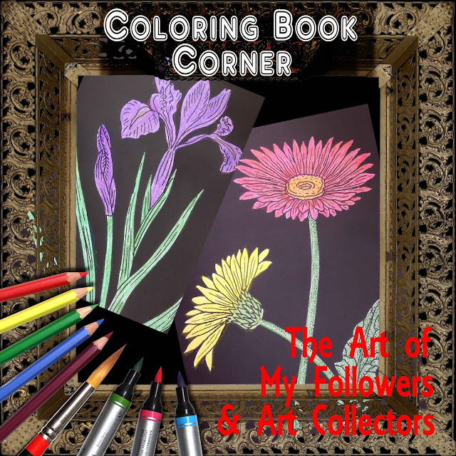 Botanical Flowers on Black Background Coloring Pages of Book Irina Sztukowski