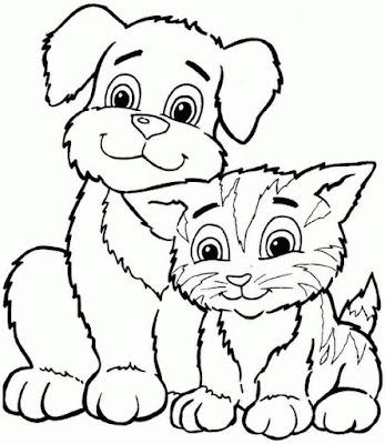 gambar sketsa Kucing Berdua