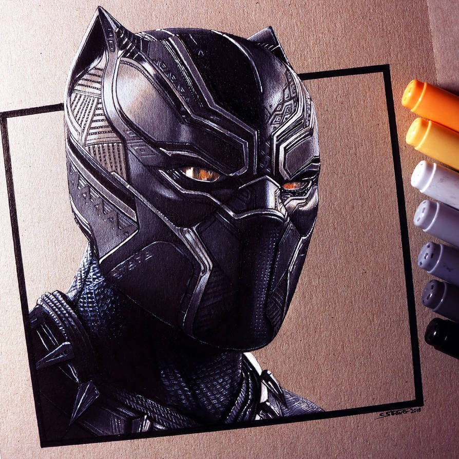 03-Black-Panther-C-Straver-Fantasy-Movie-Characters-Drawings-www-designstack-co