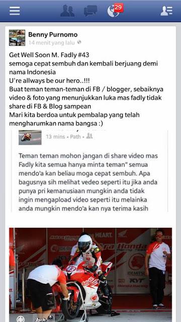 Pembalap Dimas Ekky Pratama Minta Netizen Facebook dan Blogger Tak Share Video Kecelakaan M.Fadly
