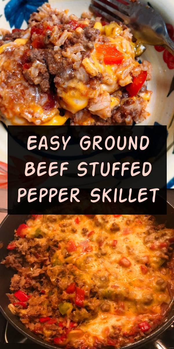 This super easy Ground Beef Stuffed Pepper Skillet is made in just one pan in less than 30 minutes! All the flavors you love of a stuffed pepper without all the hassle! #groundbeef #dinner #dinnerideas #beef