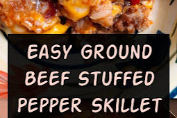 Easy Ground Beef Stuffed Pepper Skillet Recipe #groundbeef #dinner #dinnerideas #beef