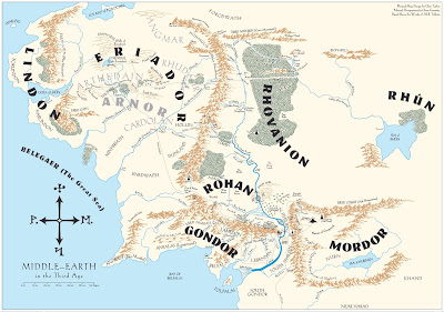 Map of the Middle-Earth in The Lord of the Rings