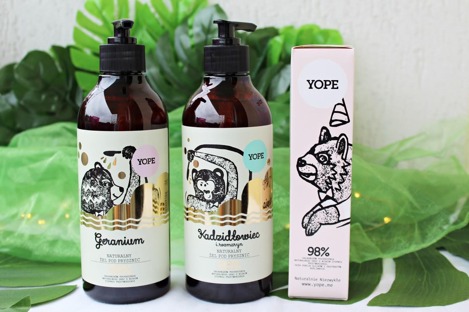Zakupy w drogerii LilaRóż - Naturalny żel pod prysznic Geranium, Kadzidłowiec i rozmaryn oraz Krem do rąk szałwia i zielony kawior YOPE