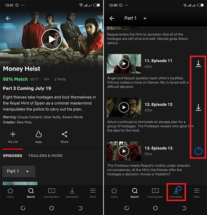 télécharger les vidéos Netflix sur Android avec l'Application officielle Netflix