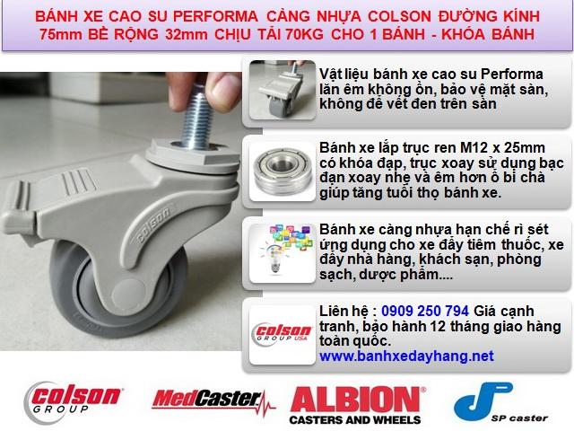 Bánh xe đẩy tiêm thuốc loại nhỏ 3 inch Colson USA | STO-3854-448BRK4 www.banhxeday.xyz