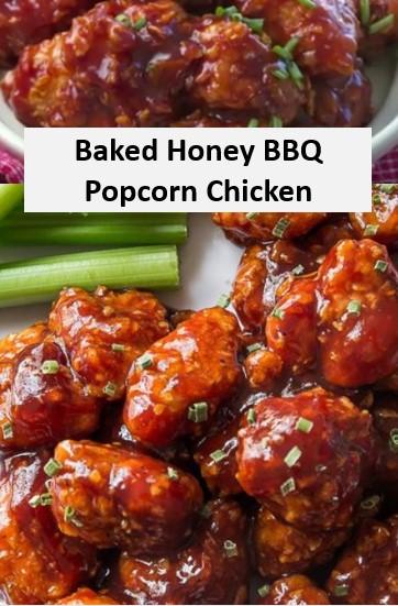 Baked Honey BBQ Popcorn Chicken Recipe
