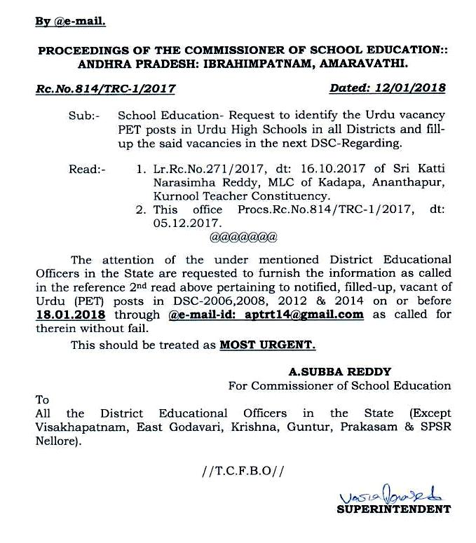 Rc No 814 || Request to identify the Urdu vacancy PET posts in Urdu High Schools