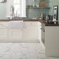 Amazing Hexagon Marble White Floor Kitchen Design Ideas