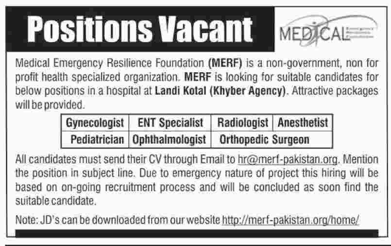 Jobs in Medical Emergency Resilience Foundation Khyber Agency October 2017.