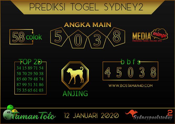 Prediksi Togel SYDNEY 2 TAMAN TOTO 12 JANUARI 2020