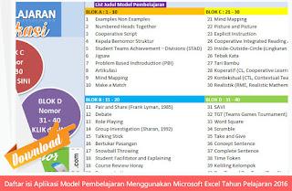 Daftar Isi Aplikasi Model Pembelajaran Menggunakan Microsoft Excel Tahun Pelajaran 2016