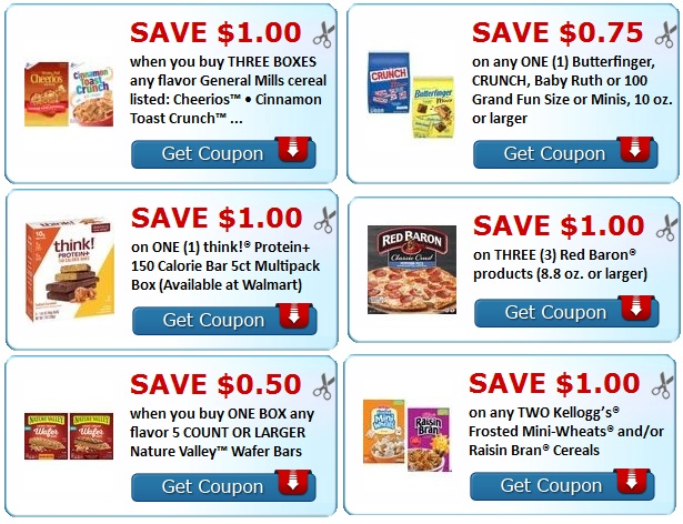 Print Cereal, think bars, Nature Valley Kelloggs, butter finger Coupons