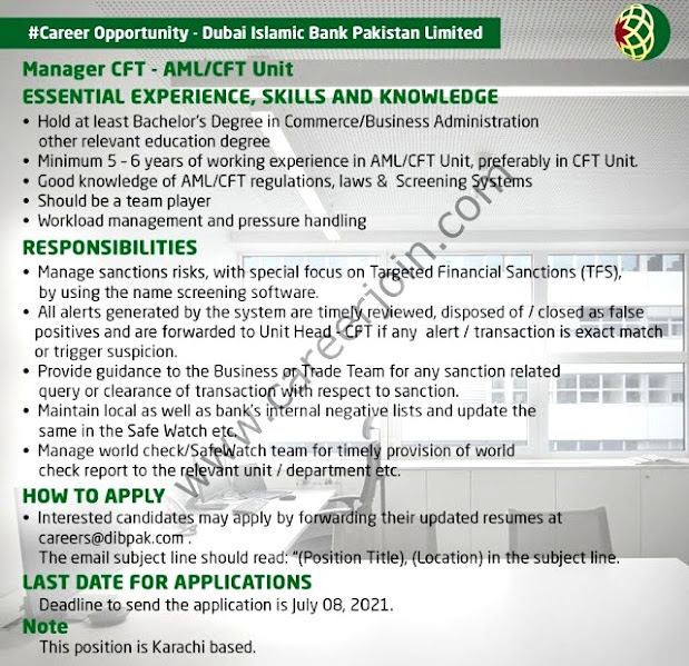 Dubai Islamic Bank Pakistan Limited Latest Jobs For Manager CFT- AML/CFT Unit