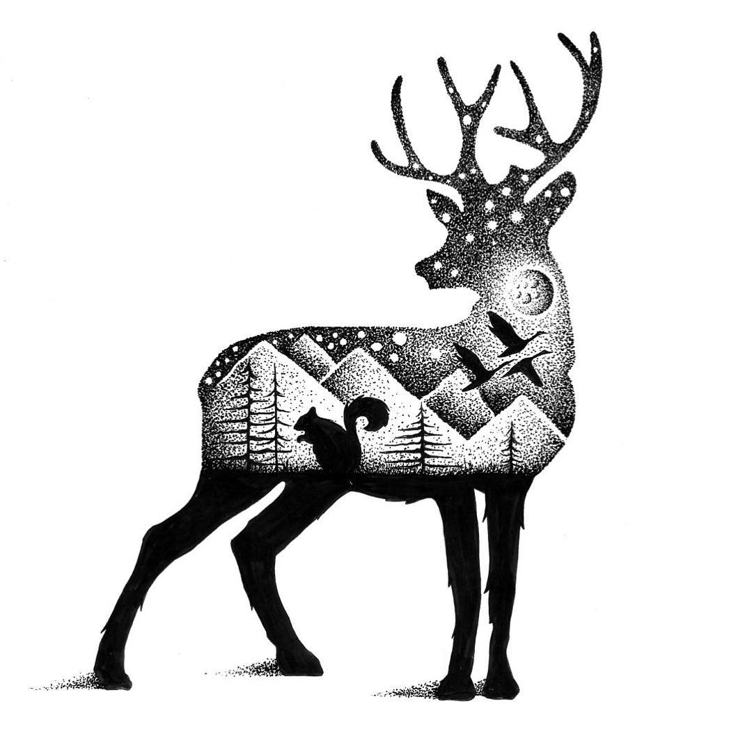 02-Deer-and-Squirrel-Thiago-Bianchini-Eclectic-Collection-of-Drawings-and-Illustrations-www-designstack-co