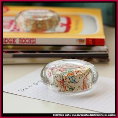 Turn Dollar Store Shallow Glass Tea Candle Holders Into PaperWeights ~ Makes A Great Mother's Day Gift
