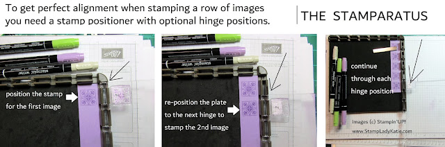 The ability to reposition the hinge setting of the stamp positioning tool is essential for perfect alignment of a row of images